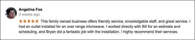 best-electrician-woodbridge-reviews-angelina